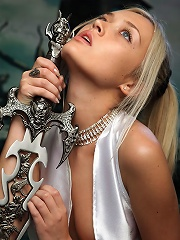 Stunning amazon with swords and without panties